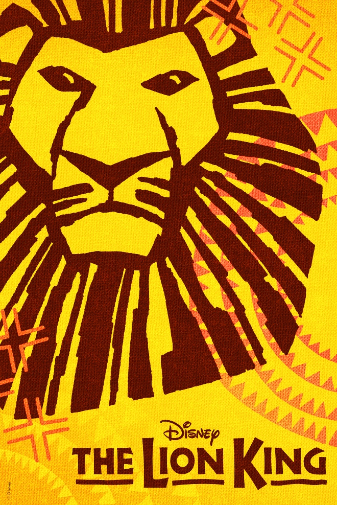The silhouette of a lion head on a yellow patterned background with the 'The Lion King' logo at the bottom