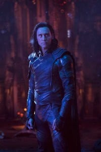 Loki stands in a scene from Avengers: Infinity War.