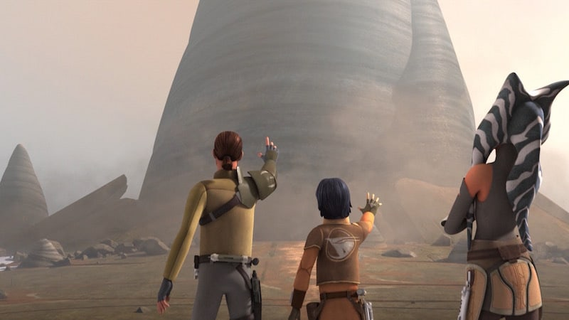 Kanan Jarrus and Ezra Bridger working together to open the Lothal Jedi Temple