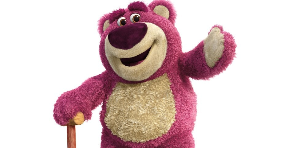 """Character Lotso (a magenta teddy bear) holding a cane in the movie """"Toy Story 3"""""""