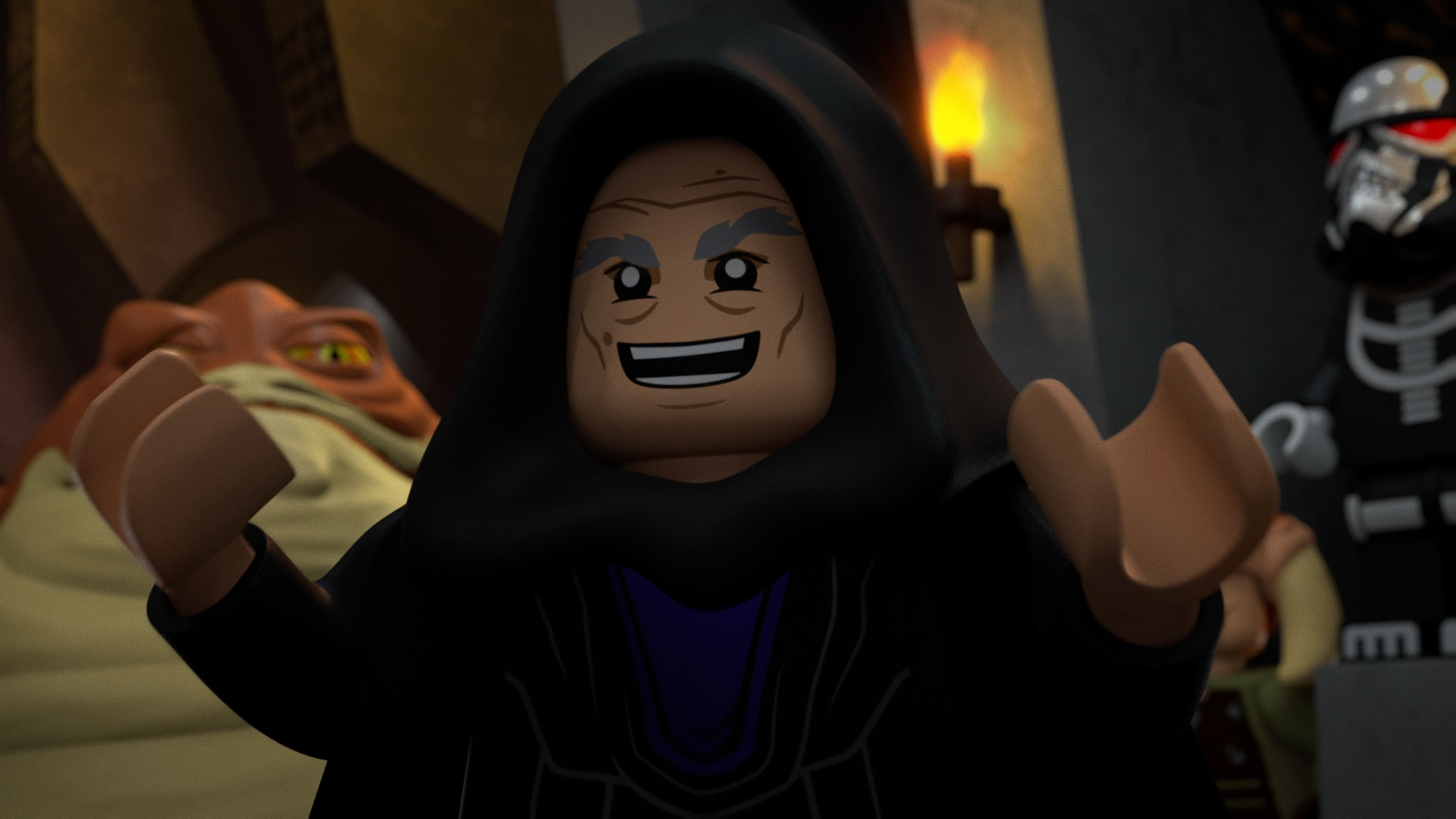 (L-R): Graballa the Hutt and Vaneé in LEGO STAR WARS TERRIFYING TALES exclusively on Disney+. ©2021 Lucasfilm Ltd. & TM. All Rights Reserved.