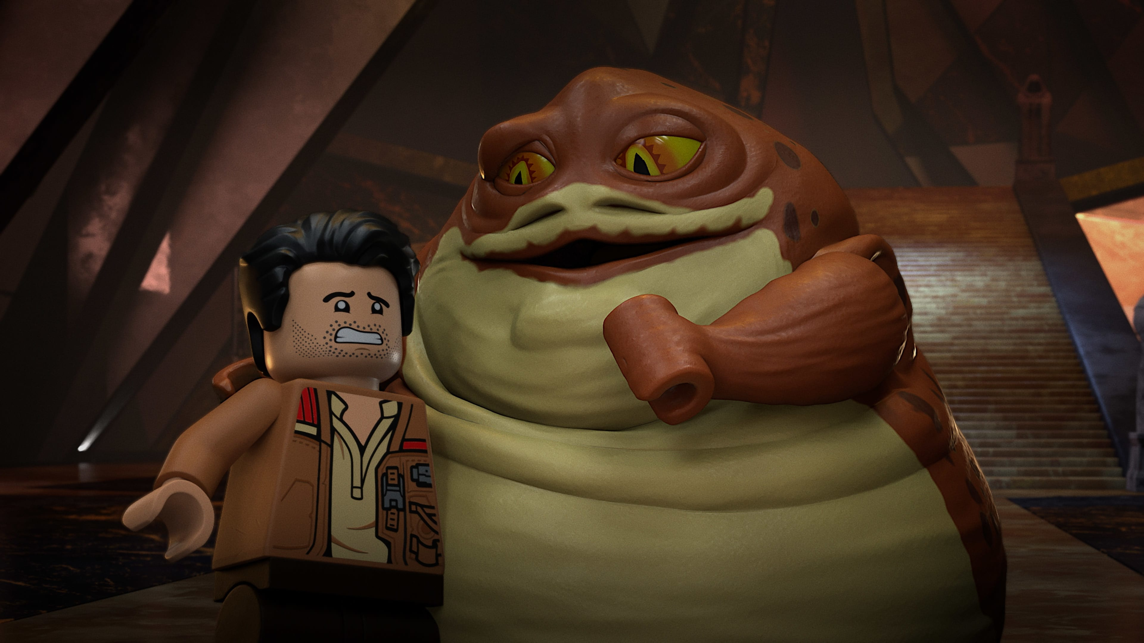 (L-R): Poe Dameron and Graballa the Hutt in LEGO STAR WARS TERRIFYING TALES exclusively on Disney+. ©2021 Lucasfilm Ltd. & TM. All Rights Reserved.