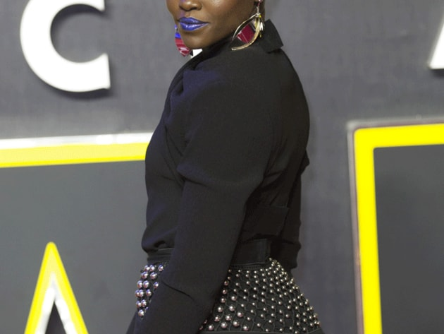 A glamorous Lupita Nyong'o, who plays space pirate Maz Kanata in The Force Awakens, poses for the...
