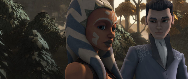 Lux Bonteri talking with Ahsoka Tano in his family's garden