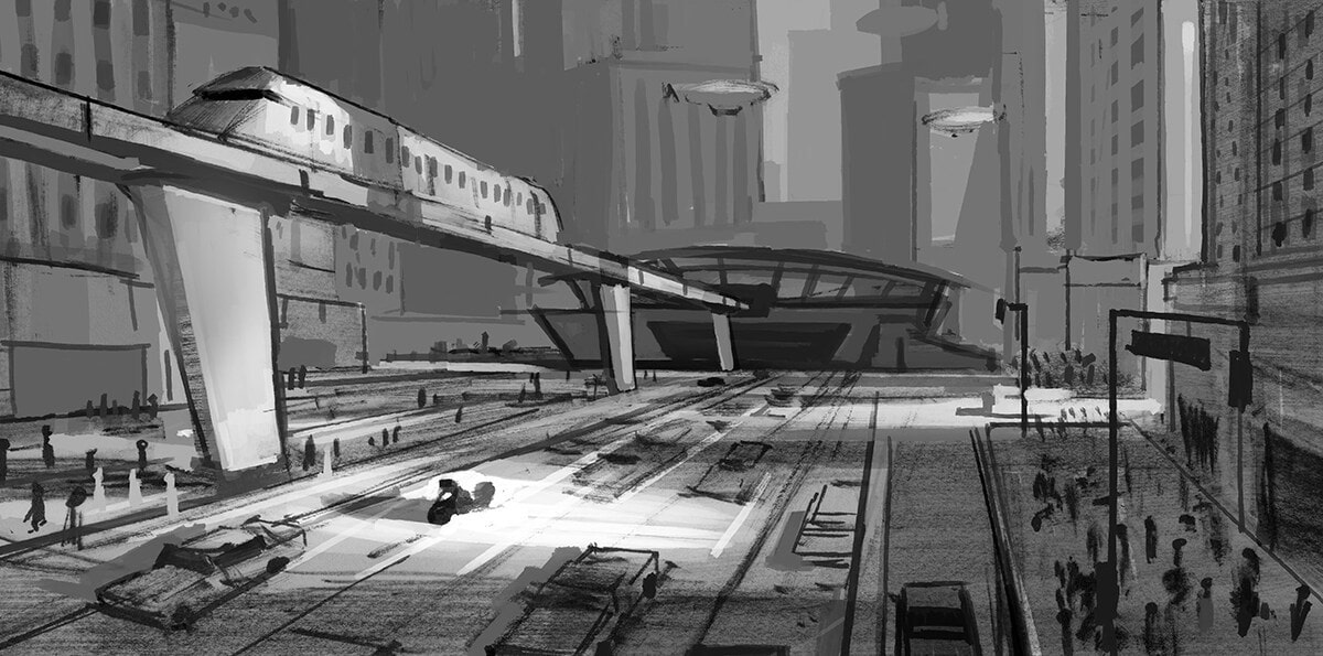 Concept art in black and white of a train leaving a mid-century modern station.