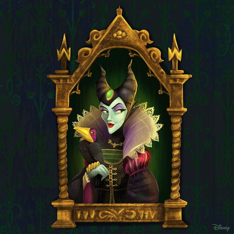 Portrait renaissance-inspired painting of Maleficent