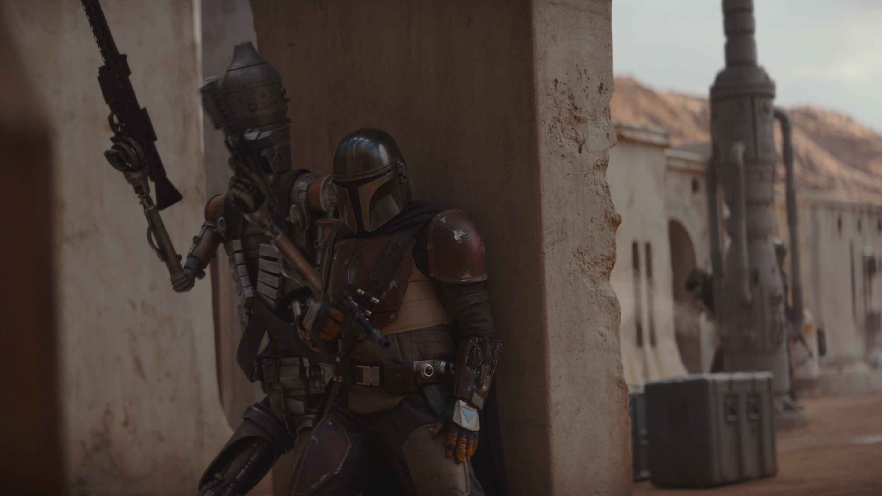 Taika Waititi is the voice if IG-11 and Pedro Pascal is the Mandalorian in THE MANDALORIAN, exclusively on Disney+
