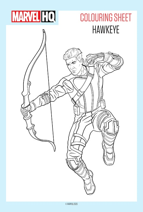 Marvel - Hawkeye Colouring sheet PDF