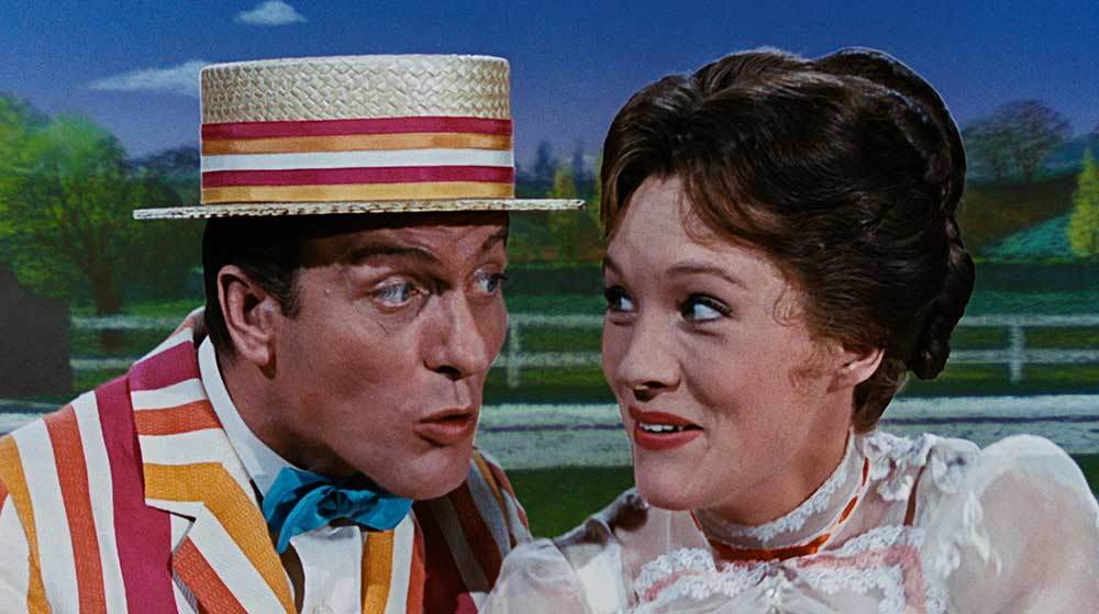 Bert and Mary Poppins singing.