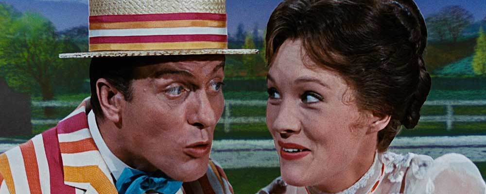 "Bert and Mary Poppins singing in the movie ""Mary Poppins"""