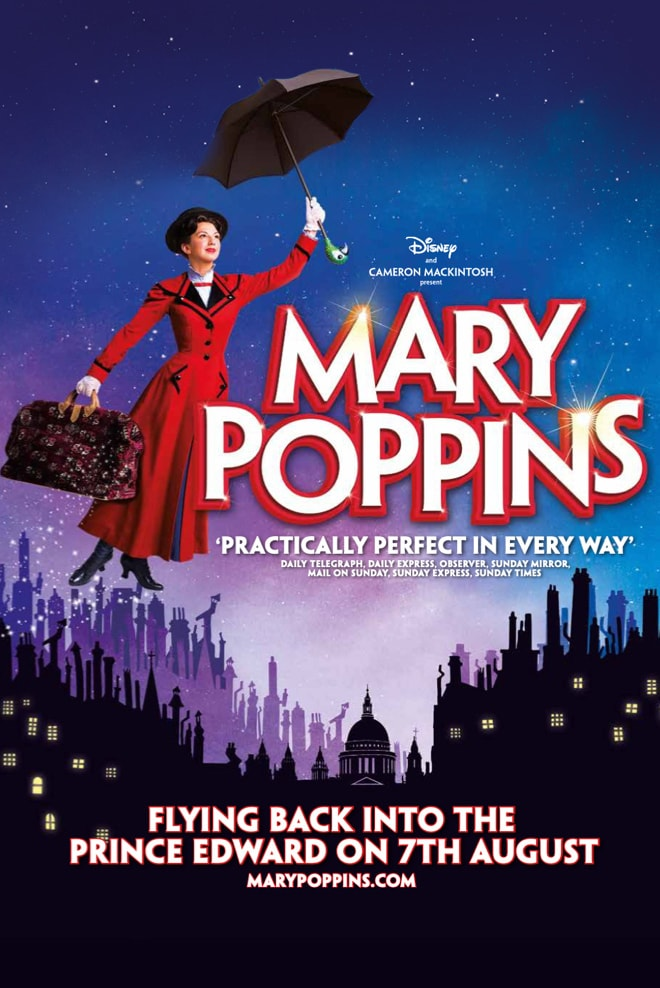 Mary Poppins poster with Mary Poppins flying over a town made up of silhouettes