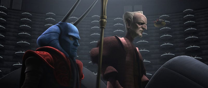 Amedda and Palpatine addressing the Galactic Senate