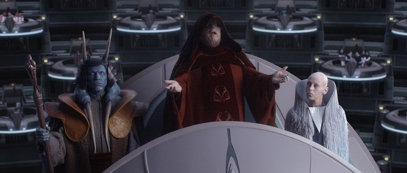 Palpatine initiating the formation of the Galactic Empire