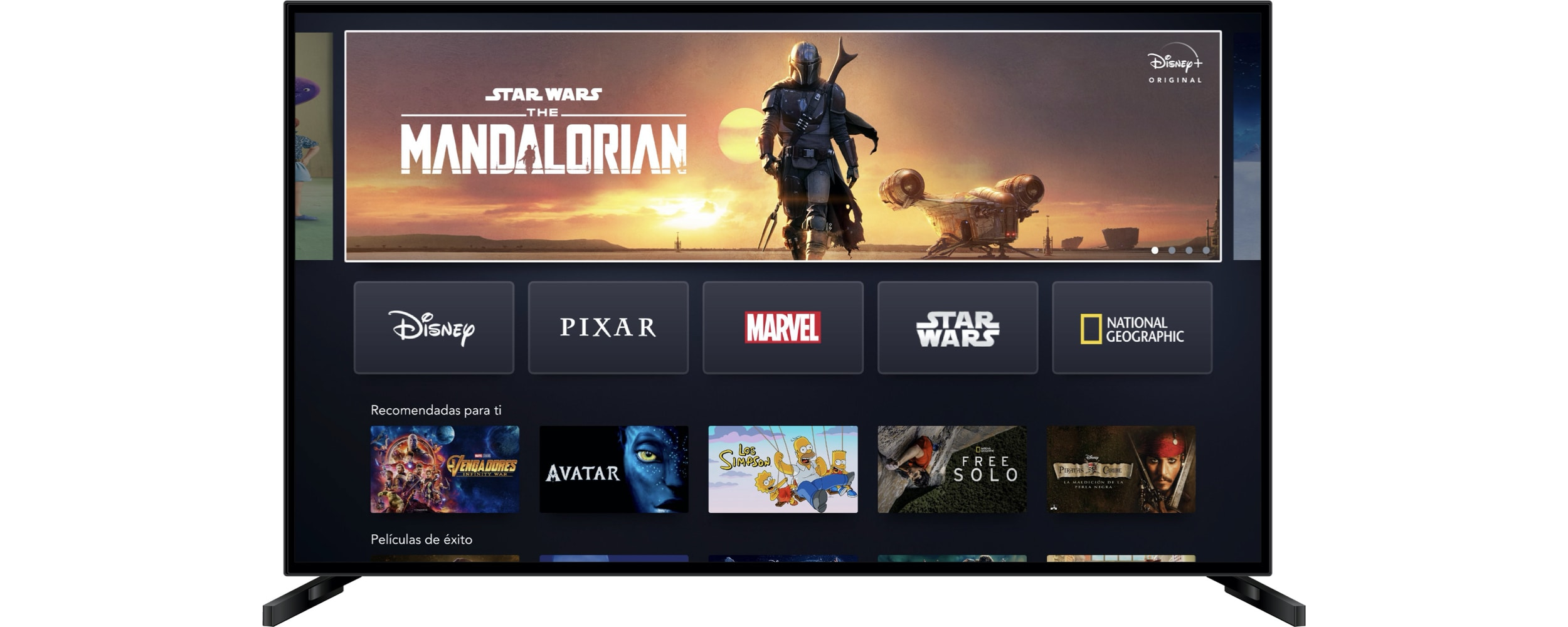 Disney+ home screen on Connected TV (Spain)