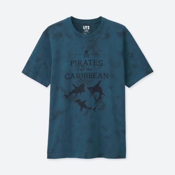 เสื้อยืด Pirates of the Caribbean สีน้ำเงินลายฉลามปีศาจ