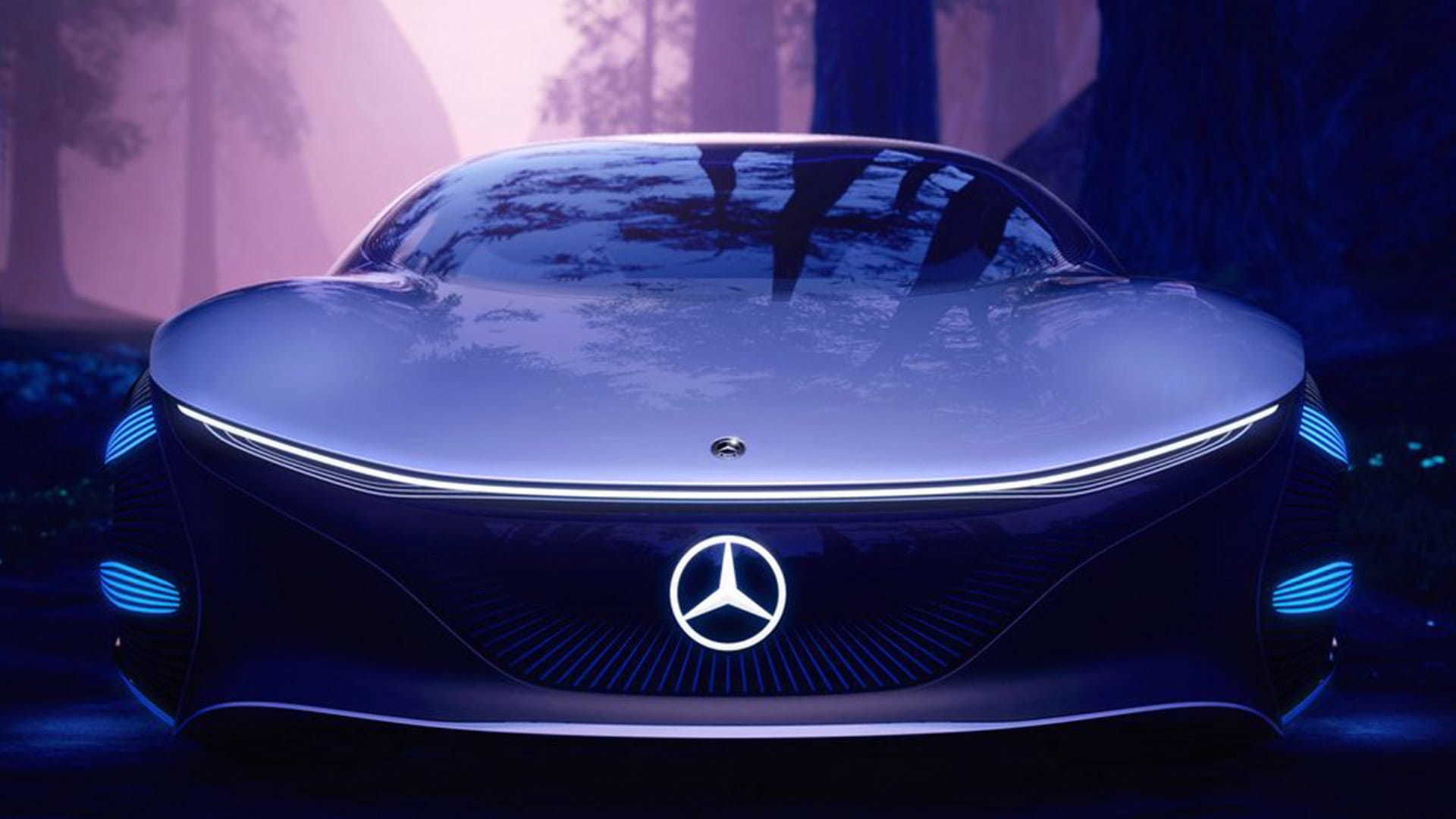 A close-up of the front of the VISION AVTR concept car.