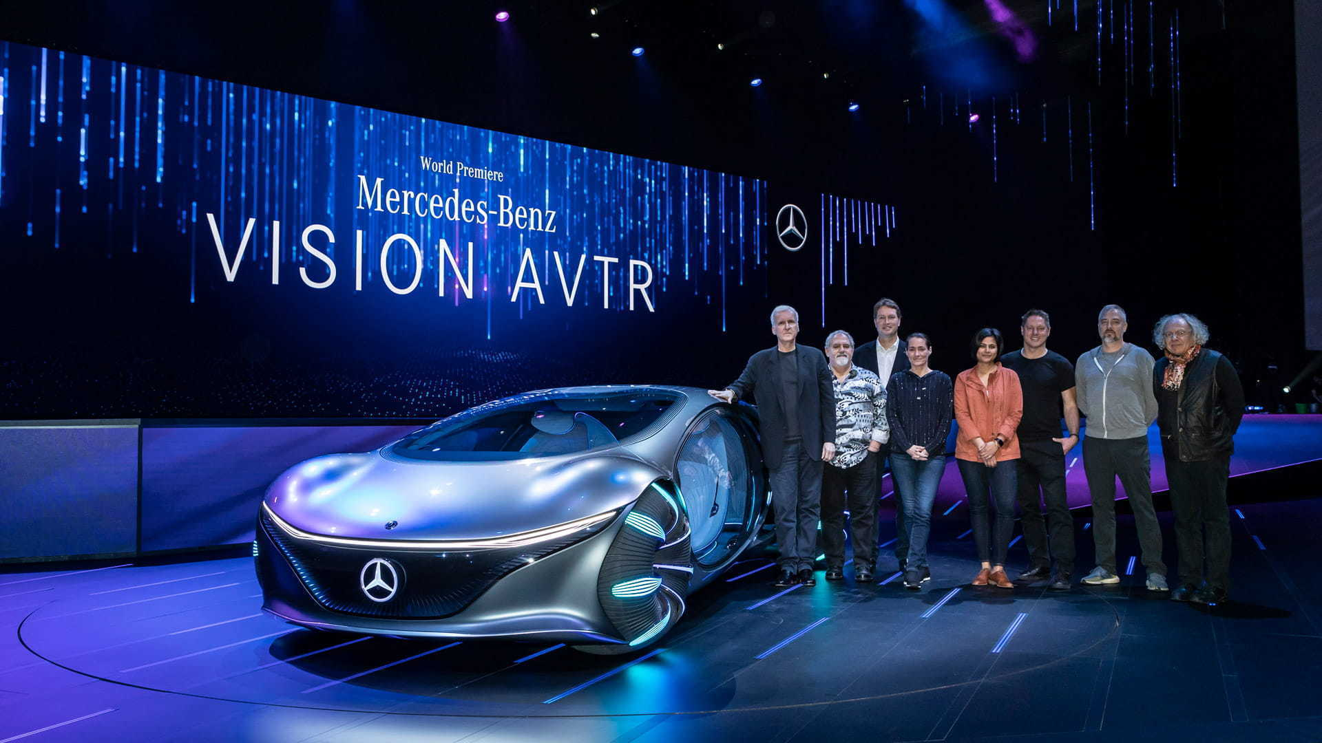 The Lightstorm and Mercedes-Benz teams pose with the VISION AVTR at CES 2020.