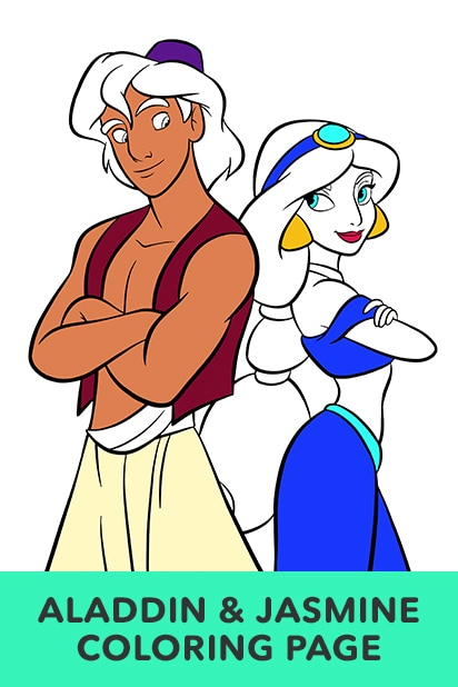 Jasmine and Aladdin Coloring Page