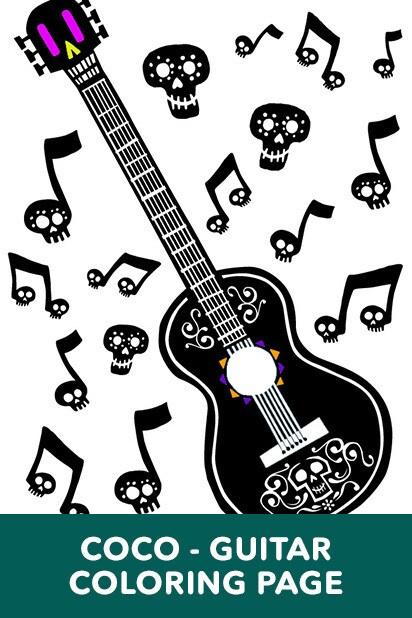 Coco Guitar Coloring Page