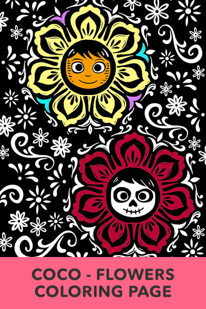 Coco Flowers Coloring Page