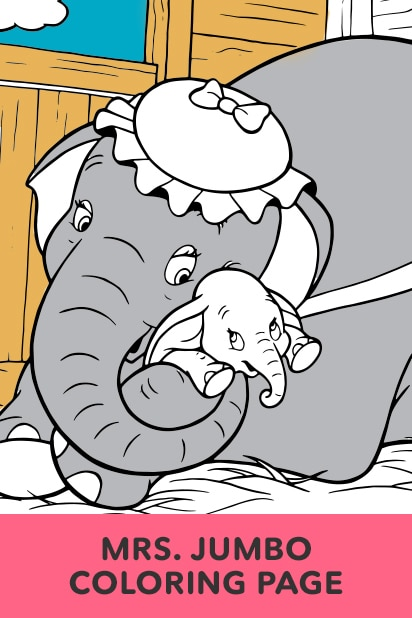 Dumbo - Mrs. Jumbo and Dumbo Coloring Page