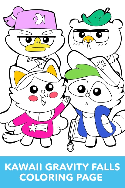 Gravity Falls - Cute Animals Coloring Page