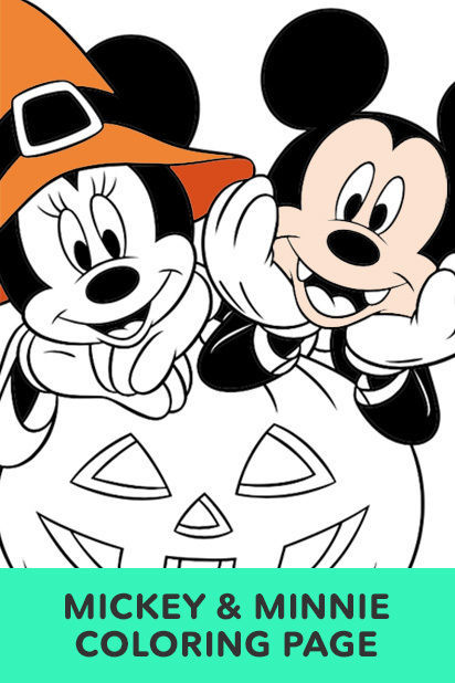 Minnie And Mickey Halloween Coloring Page