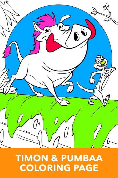 The Lion King - Timon and Pumbaa Coloring Page