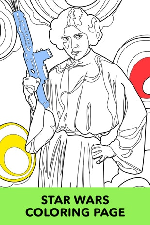 princess leia coloring page - Star Wars Coloring Books