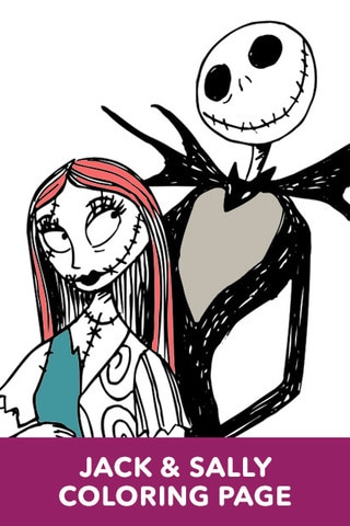 the nightmare before christmas jack and sally coloring page - Coloring Page A