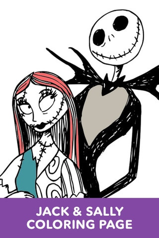 the nightmare before christmas jack and sally coloring page