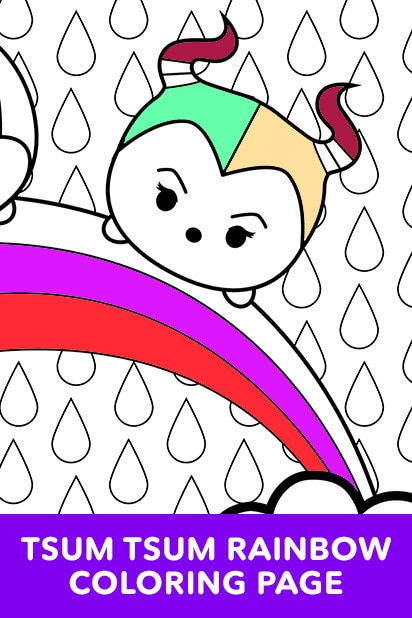 Tsum Tsum Rainbow Coloring Page