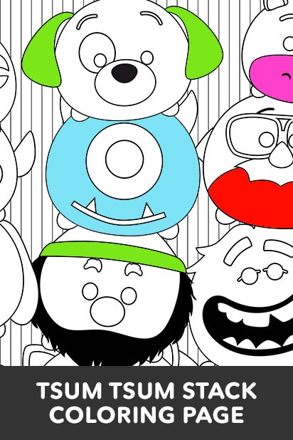 Tsum Tsum Stack Coloring Page Disney Lol