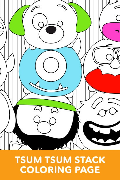 Tsum Tsum Stack Coloring Page
