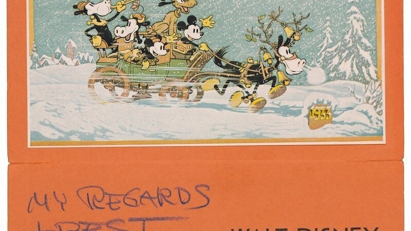 Mickey, Minnie, Puto, and Clarabelle Cow, in a sled with 2 reindeer in the snow.