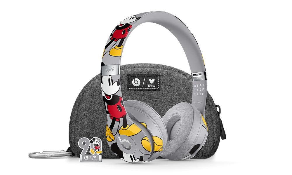 Mickey Mouse Beats by Dre Headphones, with a complimentary case and Mickey Mouse 90th anniversary pin.