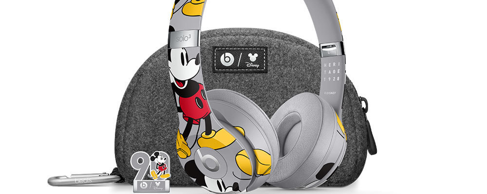 Mickey Mouse Beats by Dre Headphones, with a complimentary case and Mickey Mouse 90th anniversary pin