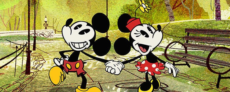 '90s cartoon style image of Mickey and Minnie Mouse holding hands