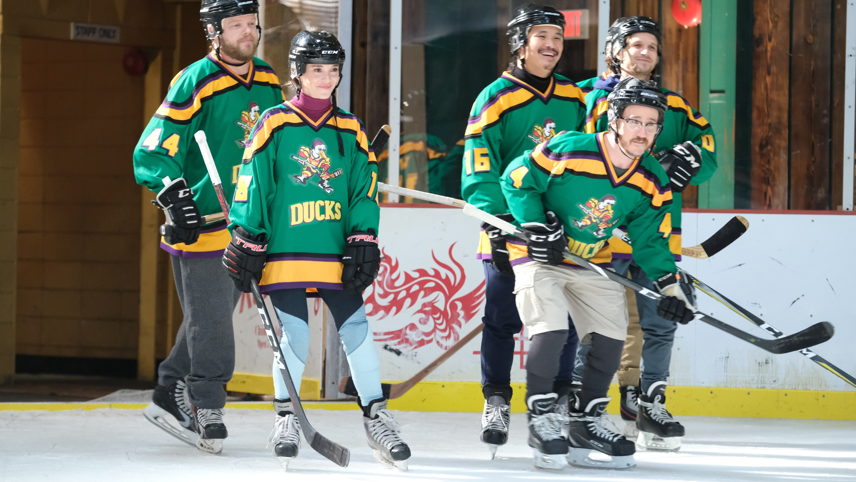 "THE MIGHTY DUCKS: GAME CHANGERS - ""Spirit of the Ducks"" - With the original Ducks back in town, Evan and Bombay each consider where their loyalties lie. (Disney/Liane Hentscher) ELDEN HENSON, MARGUERITE MOREAU, MATT DOHERTY, JUSTIN WONG, VINCENT LARUSSO, GARETTE HENSON"