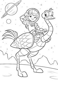 Miles From Tomorrowland – Miles and Merc Colouring Page