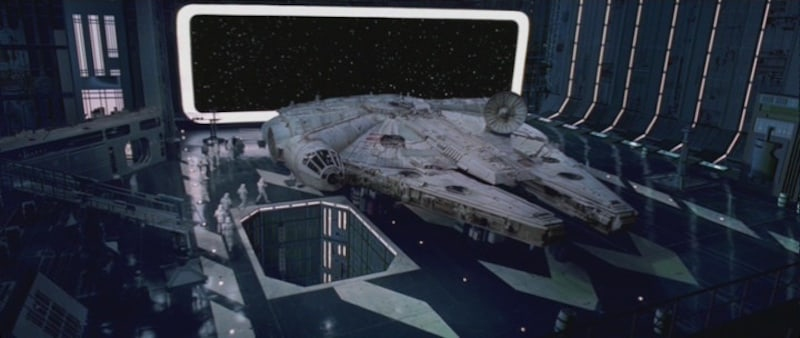 The Millennium Falcon impounded in a Death Star hangar bay