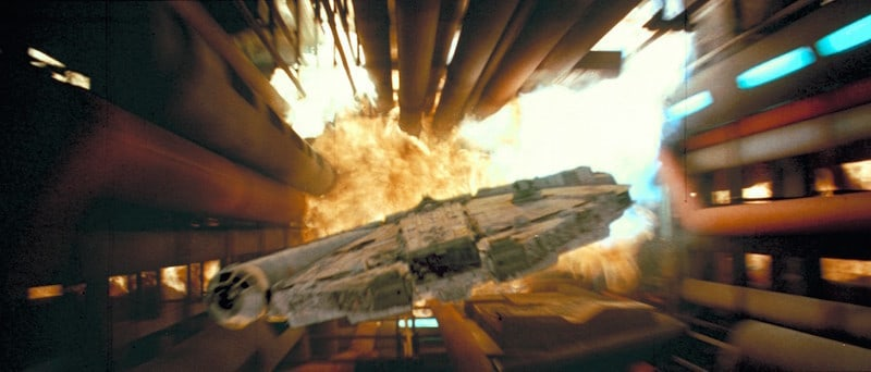 The Millennium Falcon escaping the Death Star II's destruction