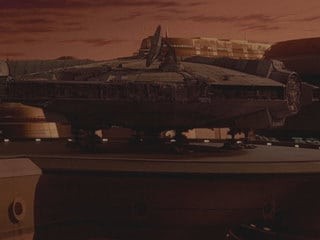 """You know, that ship's saved my life quite a few times. She's the fastest hunk of junk in the galaxy!"""