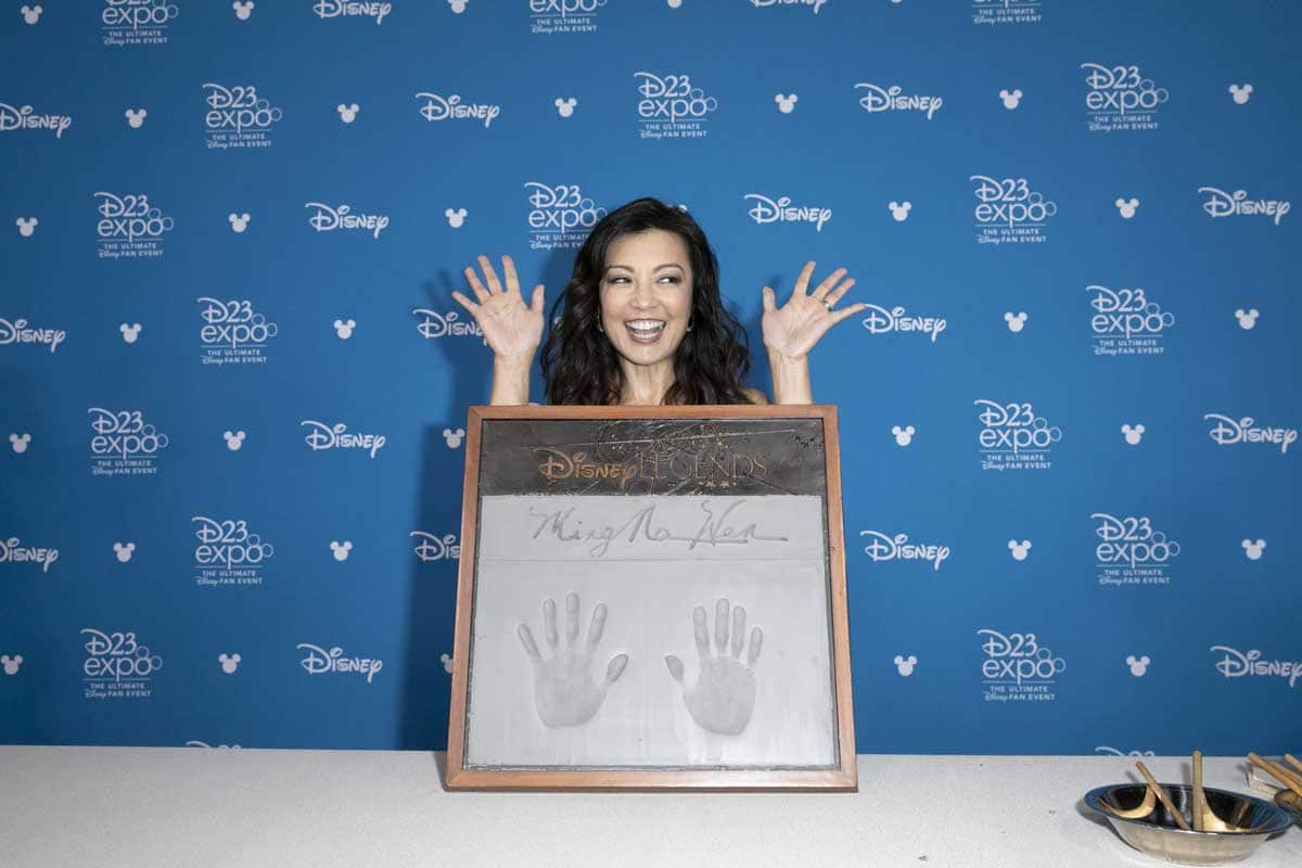 Ming-Na Wen at Disney Legends Awards with cement handprints