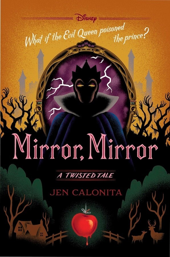 Disney, What id the Evil Queen poisoned the prince? Image of evil queen in the mirror with lightning behind her and the shadow of creepy trees with red apple dripping poison , Mirror, Mirror: a twisted tale by Jen Calonita