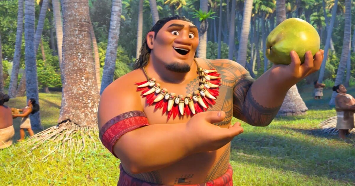 "Animated character Chief Tui holding a papaya from the film ""Moana"""