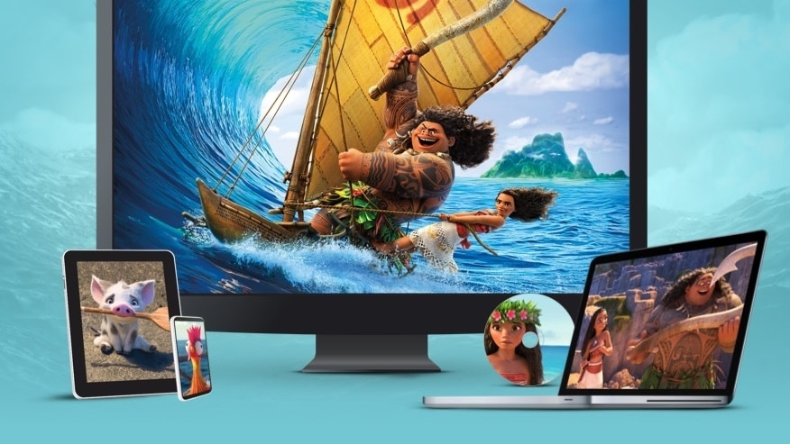 Stills from Moana displayed on a TV, laptop, tablet, mobile and disc