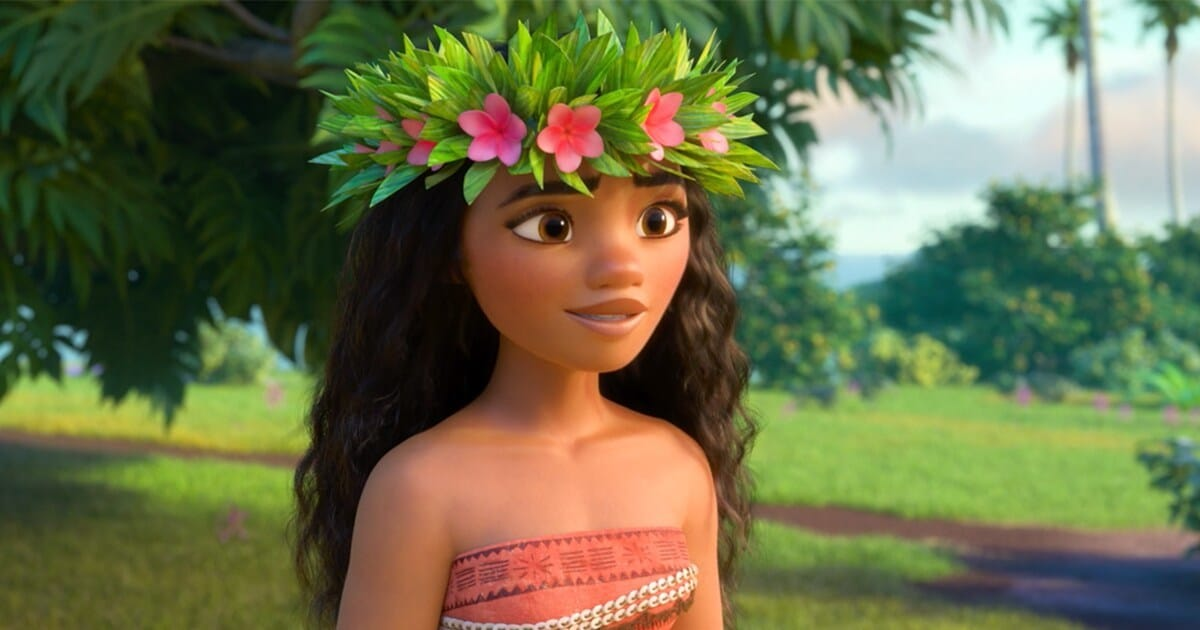 "Animated Character Moana wearing flower headdress in the movie ""Moana"""