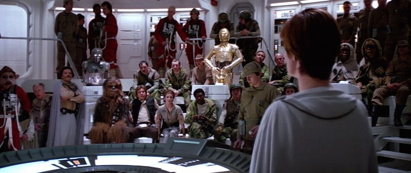 Mon Mothma strategizing the Battle of Endor with prominent Rebel leaders