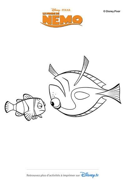 Coloriage Dory réconforte Nemo !